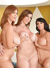 Magnificent cougar Charlee Chase and her lesbian friends having lots of fun