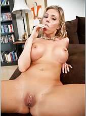 Hot and horny blonde milf with big tits Samantha Saint got her pussy fucked
