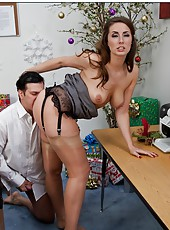 Sexy bitch named Paige Turnah gets a sweet sperm in the office