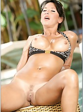 Sexy babe Lezley Zen stripping in hot bikini and rubbing her boobs