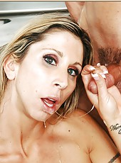 Glamorous mature Morgan Ray swallowing a big dick and getting nailed