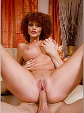 Busty Joslyn James with her curly hair sucking a big hard white cock