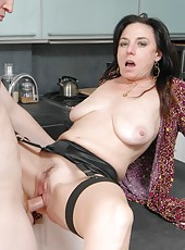 Obedient pornstar Karen Kougar loves sucking dicks and fucking hard