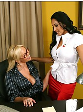 Fascinating busty milfs Abbey Brooks and Nina Mercedez fucked by common lover