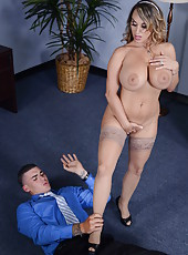 Huge boobs by hot business lady Holly Halston getting fucked in the office