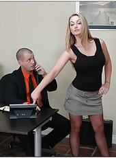 Sexy office milf Aline looks amazing when she is naked because of her perfect holes