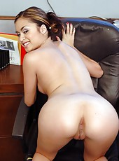 Naughty and really horny Asian hottie Michelle Maylene hugs dick with her tight shaved pussy