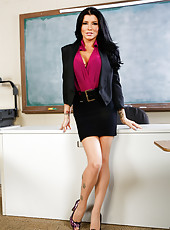 Black haired teacher vamp Romi Rain knows that this young student has big cock