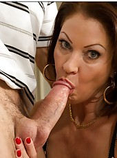 Goodly mom Vanessa Videl riding her neighbor