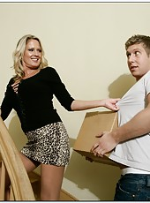 Rough pornstar Bridgett Lee gets naked and fucks with a young fellow