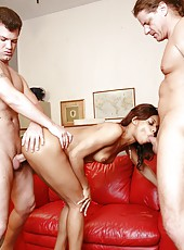 Ebony hottie Marie Luv brought real pleasure for two white office guys