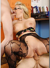 Extremely hot blonde teacher Phoenix Marie fucked by her colleague and student