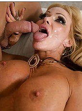 Tattooed mature Houston getting drilled like a slut and creampied at the end