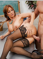 Busty mature lady in sexy stockings Tara Holiday fucked by her hot student