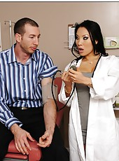 Nasty Asian doctor Asa Akira takes a big cock and tastes her fucker