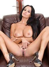 Shameless brunette milf Ava Addams undresses and spreads her legs