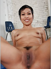 Short-haired Asian milf with hairy pussy Max Mikita facialized intense