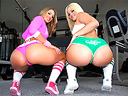 2 banging big ass gym babes get their pussy and ass pounded hard in these amazing cum faced vids