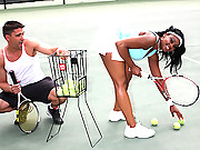 Super hot ass brown babe gets fucked hard in the ass by her tennis instructor in these hot vids