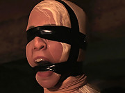 Hot blonde bound in the basement, gagged blindfold and made to cum