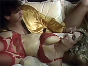 Blonde eighties babe in sexy stockings gets fucked silly