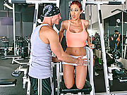 Kylee Strutt boning her instructor at the gym