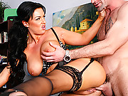 Busty Kerry fucking her boss to keep her job