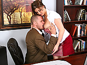 Busty Office Worker getting a nice and hard titty slap with a massive cock