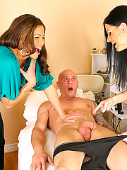 Super hot big tits milf babes working in a nail salon strip down their client for some hot young cock and cum faced action in these hot reality porn pics