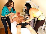 Amazing big tits hunter and her milf girl strip down a horny client in their nail salon then suck and bang his cock until he creams all over their faces in this hot reality porn video