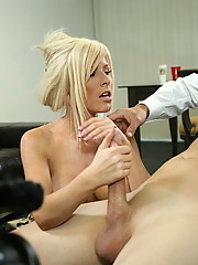 A lucky dude get his hard cock strokes by lovely blonde Kenzie