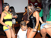 Hot ass tight leather mini lexy rides a big dong in the club while licking her girls pussies in this hot club orgy