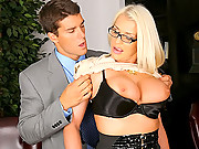 Super stacked blonde gets cum faced after a hard office fuck in these hot big tits work fucking vids
