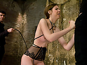 Pain slut sucks cock to orgasm under a whip!
