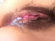 Chinatsu Izawa Japanese cock whore gets a creampie in her hairy  cunt