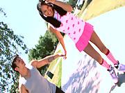Adorable teen in roller skates gets boned!