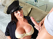 Busty Officer loves big cock up her big ass