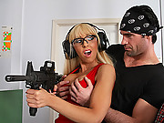 Hot slut gets drilled at the shooting range