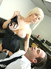 Sweet and busty blonde Kenzie gives hard cock a perfect handjob