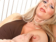 Big melon blonde MILF plays with pussy and sucks cock to pay off debt