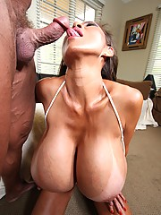 Hot Asian busty slut plays with big dick