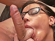 Young wild hot Sonechka sucks cock & gets cummed on glasses