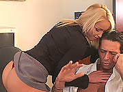 Sporty blonde sucks hard & gets fucked hard in pussy & ass