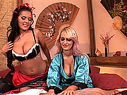Busty beautiful girls Jannete & Jasmine Black with Nick Lang