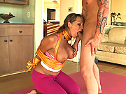Milf doing yoga does in bondage!