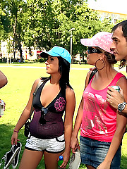 Amazing hot ass long leg euro babes meet up in the park for an amazing full on anal ass and mouth fucking orgy in these hot pics and big movie