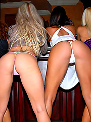 Amazing mini skirt club babe laryne and her girls share a cock in the champagne room in thes amazing club pics