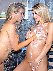Wet hot ass blondes sandy and sammie share a dildo fuck in the shower in these hot licking and fing fucking screaming pics and big lesbo movie