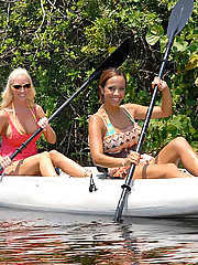 Super hot big tits babe mulani and molly share a camping pussy fuck in these hot outdoor canoeing pics
