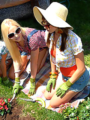 Smoking hot lesbian girl are gardening they get hot and go inside for a shower see them eat each other out